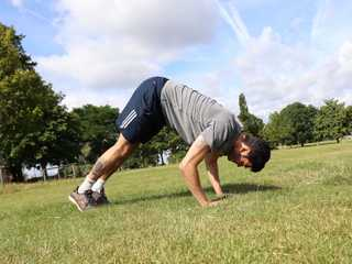 Man doing calisthenics